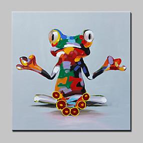 levne Abstraktní malby-Hang-malované olejomalba Ručně malované - Pop Art Moderní S rámem / Reprodukce plátna