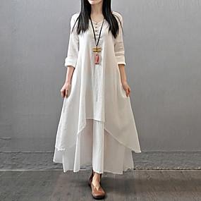 ราคาถูก Tendências de Verão 2019 – Para Elas-สำหรับผู้หญิง ขนาดพิเศษ Chinoiserie ฝ้าย รูปตัว เอ หลวม แต่งตัว - หลายเลเยอร์, สีพื้น ขนาดใหญ่ White