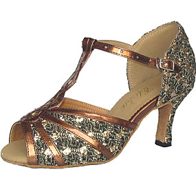 cheap Shoes & Bags-Women's Latin Shoes / Salsa Shoes Sparkling Glitter / Leatherette Sandal Customized Heel Customizable Dance Shoes Black / Red / Silver / Suede / EU43