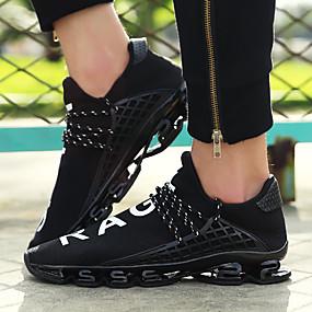 cheap Men's Sneakers-Men's Tulle Spring / Summer Comfort Sneakers Walking Shoes Black / Black / White / Black / Red