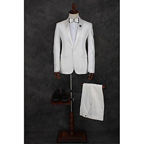 cheap Prom Suits-White Pattern Tailored Fit Polyester Suit - Peak Single Breasted One-button / Suits