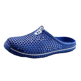 رخيصةأون قباقيب نسائية-للمرأة أحذية تول مطاط مريح كعب مسطخ حذاء يغطي أصبع القدم إلى أبيض أسود أحمر أزرق أزرق فاتح