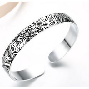 billige Vintage Armbånd-Dame Mansjettarmbånd Blomst damer Mote Sølv Armbånd Smykker Sølv Til Fest Daglig