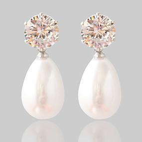 Χαμηλού Κόστους Ημερήσιες Προσφορές-Γυναικεία Συνθετικό Diamond Κουμπωτά Σκουλαρίκια Μαργαριτάρι Σκουλαρίκια Μοντέρνα Κοσμήματα Ασημί Για Γάμου Πάρτι
