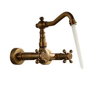 billige Ugentlige tilbud-Baderom Sink Tappekran - Utbredt Antikk Kobber Vægmonteret To Huller / To Håndtak tre hullBath Taps