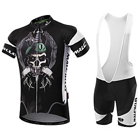 cheap Wanna Train Your Dragon? Be a VIKING First!-Malciklo Men's Short Sleeve Cycling Jersey with Bib Shorts - White Black Bike Clothing Suit Breathable 3D Pad Quick Dry Back Pocket Sports Coolmax® Lycra Pirate Mountain Bike MTB Road Bike Cycling