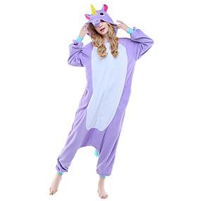 ieftine LaurenCalaway-Adulți Pijama Kigurumi Unicorn Animal Pijama Întreagă Lână polară Mov / Albastru / Roz Cosplay Pentru Bărbați și femei Sleepwear Pentru Animale Desen animat Festival / Sărbătoare Costume