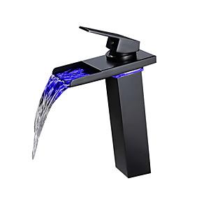 abordables Offres de la Semaine-Robinet lavabo - LED Bronze huilé Set de centre Mitigeur un trouBath Taps