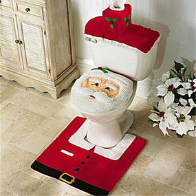 Santa Snowman Deer Spirit Toilet Seat Cover Rug Bathroom Set With Paper Towel Cover For Christmas Gift New Year Home Decorations