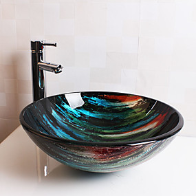 cheap Vessel Sinks-Bathroom Sink Bathroom Faucet Bathroom Mounting Ring Bathroom Water Drain Contemporary - Tempered Glass Round