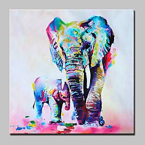 hesapli Hayvan Resimleri-Hang-Boyalı Yağlıboya Resim El-Boyalı - Pop Art Modern Iç çerçeve dahil / Gerilmiş kanvas