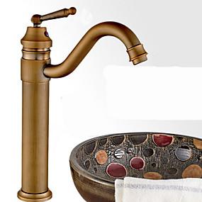 hesapli Haftalık Kampanyalar-Banyo Lavabo Bataryası - Döndürülebilir Antik Bronz Lavabo Teknesi Tek Delik / Tek Kolu Bir DelikBath Taps