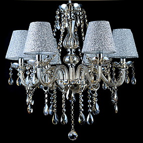 cheap Ceiling Lights & Fans-6-Light Candle-style Chandelier Uplight Electroplated Glass Fabric Crystal 110-120V / 220-240V Bulb Not Included / E12 / E14