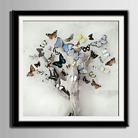 cheap Trending-Framed Canvas Framed Set Animals Floral/Botanical Wall Art, PVC Material With Frame Home Decoration Frame Art Living Room Bedroom Kitchen