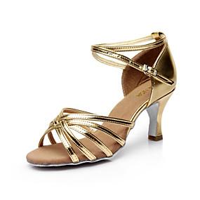 ราคาถูก รองเท้า และ กระเป๋า-สำหรับผู้หญิง ซาติน ลาติน / Salsa หัวเข็มขัด รองเท้าแตะ ส้นแบบกำหนดเอง ตัดเฉพาะได้ เงิน / น้ำตาล / ทอง / Performance / หนังสัตว์ / EU40