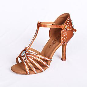 abordables Chaussures de Danse-Femme Chaussures Latines / Salon / Chaussures de Salsa Satin Sandale Strass Talon Bobine Non Personnalisables Chaussures de danse Marron