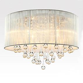 billige Taklamper-6-Light Takplafond Nedlys Børstet Stof Stof Krystall 110-120V / 220-240V Pære ikke Inkludert / E12 / E14