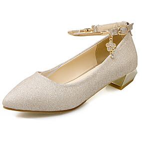 d28cacee43 Kényelmes-Alacsony-Női cipő-Lapos-Irodai Alkalmi-Bőrutánzat-Fekete Arany  Ezüst