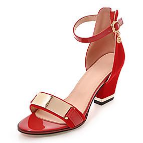 voordelige Wijdere maten schoenen-Dames Sandalen Blokhak Rits / Stalen neus Kunstleer Club Schoenen Lente / Zomer Zwart / Rood / Feesten & Uitgaan / Feesten & Uitgaan / EU42
