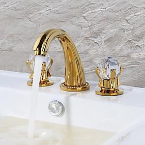 abordables Offres de la Semaine-Robinet lavabo - Jet pluie Doré Set de centre Deux poignées trois trous