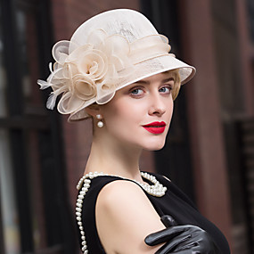 cheap Del Mar Hats-Flax / Feather Kentucky Derby Hat / Fascinators / Hats with 1 Wedding / Special Occasion / Casual Headpiece