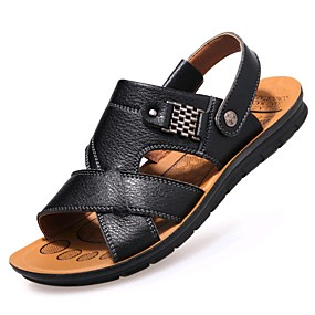 baratos Sandálias Masculinas-Homens Sapatos Confortáveis Couro Primavera / Verão Sandálias Caminhada Preto / Marron / Khaki / Casual / Tachas / Ao ar livre