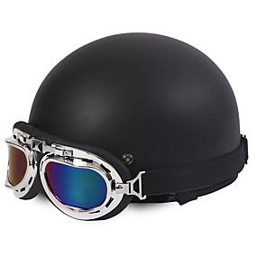 cheap Motorcyle Helmets-Half Face Motorcycle Helmet Harley Style Flexible ABS Street Motorcycle Helmet Matte Black Color