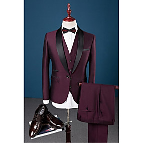cheap Prom Suits-Burgundy Solid Colored Slim Fit Cotton / Polyester / Spandex Suit - Shawl Collar Single Breasted One-button / Suits