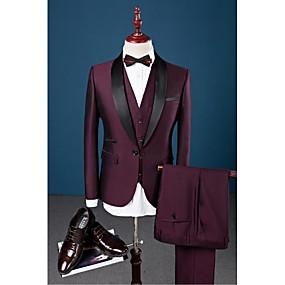 رخيصةأون Prom Suits-بورجوندي لون سادة قياس نحيل قطن / بوليستر / سباندكس دعوى - ياقة شال Single Breasted One-button / بدلة