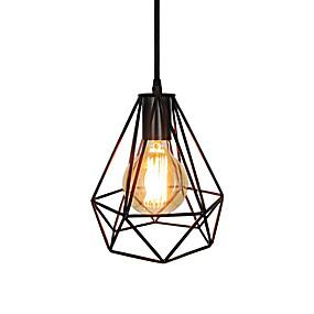 abordables Plafonniers-millésime noir cage métallique loft mini pendentif lumières salon salle à manger couloir café bars luminaire