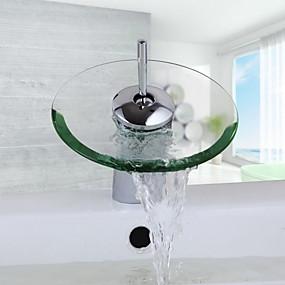 billige Ugentlige tilbud-Baderom Sink Tappekran - Foss Krom Centersat Et Hull / Enkelt Håndtak Et HullBath Taps / Messing