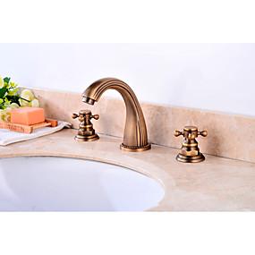 hesapli İndirim Musluklar-Banyo Lavabo Bataryası - Yaygın Antik Bakır Ayrılmış Gövdeli İki Kolları Üç DelikBath Taps