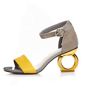 cheap Women's Sandals-Women's Suede Spring / Summer Sandals Heterotypic Heel Open Toe Buckle Black / Yellow / Screen Color