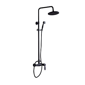 cheap Specials & Offers-Vintage Retro Shower System Rain Shower Handshower Included Two Handles Two Holes Oil-rubbed Bronze, Shower Faucet Bath Shower Mixer Taps