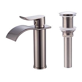 billige Forbedringer til hjemmet-Kransett - Foss Nikkel Børstet Centersat Enkelt Håndtak Et HullBath Taps / Messing