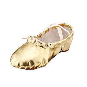 voordelige Dansschoenen-Dames Balletschoenen Imitatieleer Platte schoenen Platte hak Niet aanpasbaar Dansschoenen Goud / Zilver / Rood / Voor Binnen