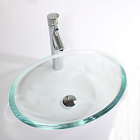 abordables Eviers-Lavabo de Salle de Bain contemporain - Verre Trempé Rectangulaire Vessel Sink