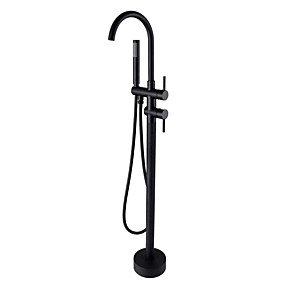 cheap 70% OFF-Bathtub Faucet - Antique Oil-rubbed Bronze Floor Mounted Ceramic Valve Bath Shower Mixer Taps