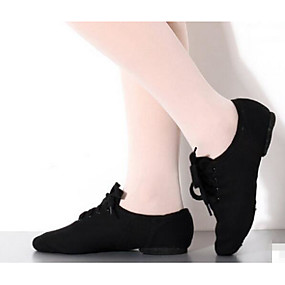 billige Jazz-sko-Dame Jazz-sko Lerret / Tekstil Flate / Høye hæler Flat hæl Kan spesialtilpasses Dansesko Svart / Trening