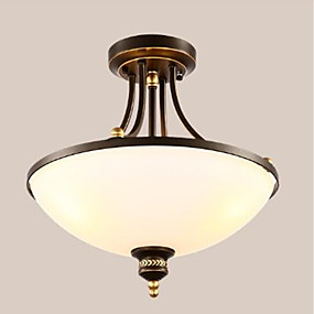 cheap Ceiling Lights & Fans-3-Light Inverted Flush Mount Ambient Light Painted Finishes Metal Glass Eye Protection 110-120V / 220-240V Bulb Not Included / E26 / E27