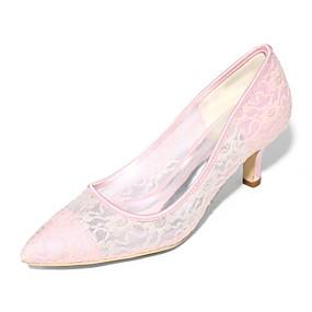 voordelige Wijdere maten schoenen-Dames bruiloft Schoenen Naaldhak Gepuntte Teen Tule Basispump Lente / Zomer Blauw / Roze / Kristal / Bruiloft / Feesten & Uitgaan