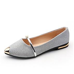 voordelige Damesschoenen met platte hak-Dames Platte schoenen Platte hak Gepuntte Teen Parel PU Lichtzolen Zomer Goud / Zwart / Zilver / Formeel / EU39