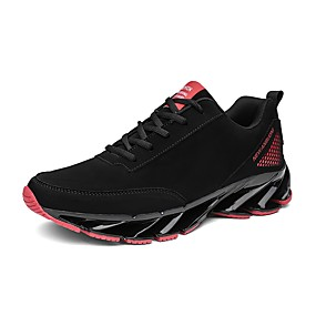 cheap Running Shoes-Men's Light Soles Nappa Leather Fall / Winter Comfort Athletic Shoes Running Shoes Black / Black / White / Black / Red