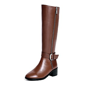 povoljno ženske kožne cipele-Žene Čizme Kockasta potpetica Okrugli Toe Kopča / Patent-zatvarač Koža Čizme do koljena Čizme za jahanje / Modne čizme Zima Crn / Braon