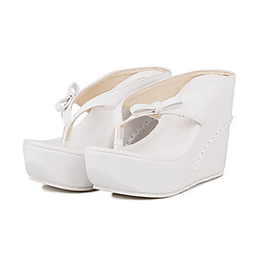 cheap Women's Wedges-Women's Sandals Wedge Heels Wedge Heel Cap-Toe Bowknot PU(Polyurethane) Comfort / Novelty / Slingback Summer / Fall White / Black / Pink / Wedding / Party & Evening / Party & Evening