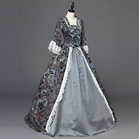 ราคาถูก ของเล่นและงานอดิเรก-Punk Lolita Rococo โบว์ Victorian ศตวรรษที่ 18 หนึ่งชิ้น ชุดเดรส Party Costume Masquerade สำหรับผู้หญิง เด็กผู้หญิง ลูกไม้ เครื่องแต่งกาย สีเทา Vintage คอสเพลย์ ซาติน ปาร์ตี้ Prom แขนยาว ลากพื้น