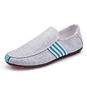 baratos Sapatilhas e Mocassins Masculinos-Homens Sapatos Confortáveis Linho Primavera / Outono Mocassins e Slip-Ons Preto / Azul / Cinzento / Escritório e Carreira