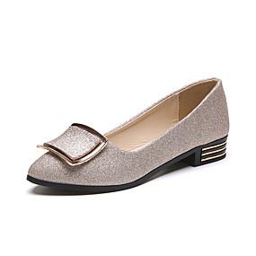 abordables Chaussures Plates pour Femme-Femme Chaussures Polyuréthane Printemps / Eté Confort / Semelles Légères Chaussures à Talons Talon Plat Bout rond Or / Noir / Argent