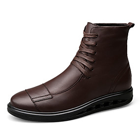 cheap Men's Boots-Men's Fashion Boots Leather Fall / Winter Boots Mid-Calf Boots Black / Dark Brown