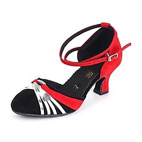 billige Moderne sko-Dame Moderne sko Syntetisk Høye hæler Gummi / Spenne Kubansk hæl Dansesko Rød / Svart / Rød / Rød-Svart / Profesjonell